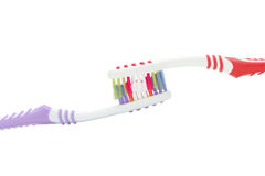 Two color toothbrushes Stock Photography