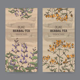Two color vintage labels for sage and Saint John wort. Royalty Free Stock Images