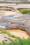 Two color water in the hole of rock Royalty Free Stock Photos
