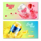 Aluminum Cans Drinks Horizontal Banner Set. Two colored aluminum cans drinks horizontal banner set with drink natural juice berry mix and soft drink descriptions Stock Photo