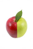 Two-colored apple. Isolated on a white background Royalty Free Stock Image