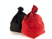 Two colored bag for a game of bingo. On a white background stock image