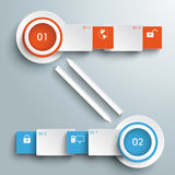 Two  Colored Banners Batched Rectangles Bevel Arro Stock Images
