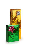 Two colored beautiful boxes with gifts Royalty Free Stock Photo