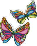Two colored butterflies Stock Images