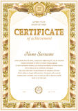 Two colored certificate blank template. With vintage floral frame border and ribbon elements royalty free illustration