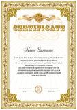 Two colored certificate blank template. With vintage floral frame border and ribbon elements stock illustration