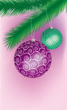 Two colored cristmas. Ball hanging on a tree Vector Illustration