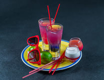 Two colored drinks, a combination of dark blue with purple, the Royalty Free Stock Photos