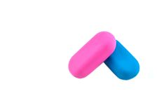 Two colored erasers Royalty Free Stock Photo