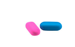 Two colored erasers Royalty Free Stock Photography