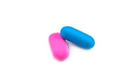 Two colored erasers Royalty Free Stock Images