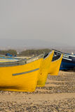 Two Colored fishing boats on the beach of Sidi Kaouki Stock Photography