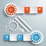 Two Colored Gears Banners Batched Rectangles Bevel Stock Photos