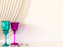Two colored glasses Royalty Free Stock Image