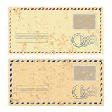 Two colored grunge envelopes. Two colored grunge old envelopes Royalty Free Stock Photography