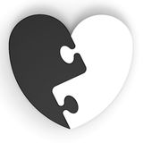 Two-Colored Heart Puzzle Showing Lost Love. And Past Partners Stock Photo