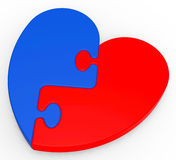 Two-Colored Heart Puzzle Showing Romance Stock Photography