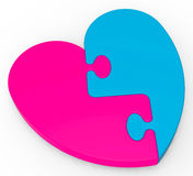 Two-Colored Heart Puzzle Shows Marriage Royalty Free Stock Photos
