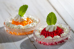 Two colored jelly served with cream Stock Photography