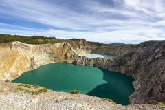 Two colored lakes stock photo
