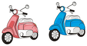 Two colored mopeds. Pink moped stand with blue moped Stock Image