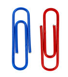 Two colored paper clips isolated on white Stock Images
