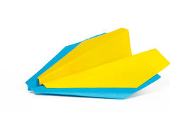 Two colored paper planes. On a white background Stock Images