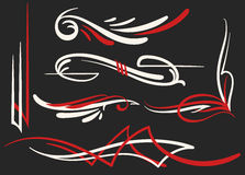 Two Colored Pinstriping Ornaments Set Royalty Free Stock Photo