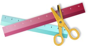 Two colored rulers and yellow scissors Royalty Free Stock Images