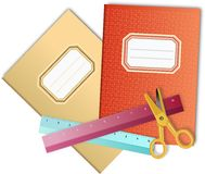 Two colored school notebooks with scissors and rulers Stock Images