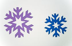 Two colored snowflakes Stock Photography