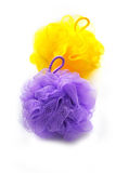 Two colored soft bath puffs Royalty Free Stock Photo