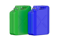 Two colored steel jerrycans Royalty Free Stock Photography