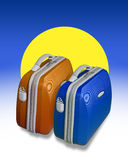 Two colored suitcases. Two bright colored suitcases on a background of blue with a big yellow sun shape Stock Photos