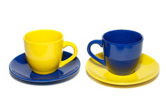 Two colored teacups Stock Photo