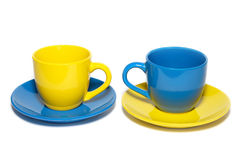Two colored teacups Royalty Free Stock Photos