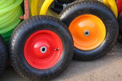 Two colored wheels Royalty Free Stock Photography