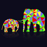 Two colorful abstract elephants from triangles Royalty Free Stock Photography