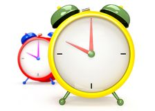 Two colorful alarm clocks on white background. Stock Photography