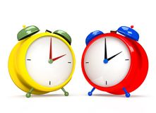 Two colorful alarm clocks on white background. 2 O`clock pm or am. 3D rendering Royalty Free Stock Photography