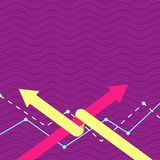 Two Colorful Arrows where One is Intertwined to the other as Symbol of Partnership, Collaboration, Agreement or stock illustration