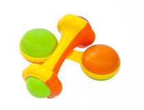 Two colorful baby rattle Royalty Free Stock Photography
