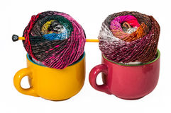 Two colorful balls of yarn Stock Images