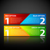 Two colorful banners, combining two options or two points of view. Stock Images