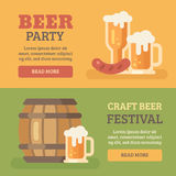 Two colorful beer party banners Stock Photos