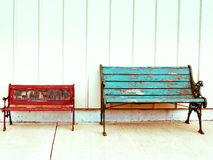 Two colorful benches Royalty Free Stock Image