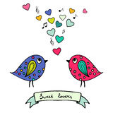 Two colorful birds, hand-drawn with hearts and notes Stock Photography