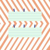 Two Colorful Blank Strip Size Lined Paper Sheet Hanging Using Clothespin. Creative Printable Background Idea for Filler vector illustration