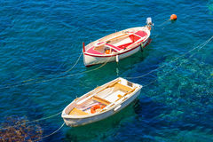 Two colorful boats on the sea Royalty Free Stock Photos